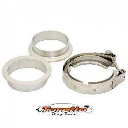 """Kit Abraçadeiras Tipo V-Band / V-Clamp + Par de Flange 100% Inox 3-1/2"""" polegadas"""