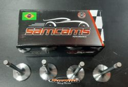 Jogo Válvulas em Aço Motor VW AP  Samacar (Admissão 41X8 mm+ Escape 35X8 mm)